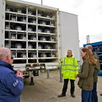 Jerry Gibson of EMEC provides Duke and Duchess a look inside EMEC mobile hydrogen storage unit (Credit Colin Keldie)