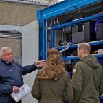 John Skuse of EMEC shows Duke and Duchess inside hydrogen fuel cell (Credit Colin Keldie)